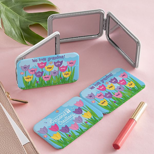 Tulip Garden Purse Mirror