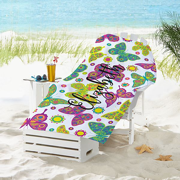 Colorful Butterflies Beach Towel