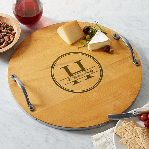 Family Name + Monogram Wood Barrel Tray