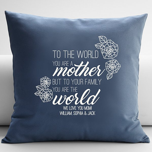 You Are the World Throw Pillow - Blue 18x18
