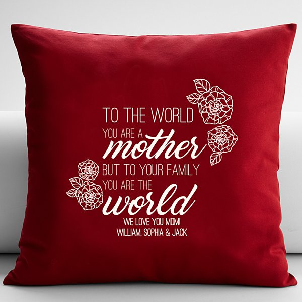 You Are the World Throw Pillow - Red 18x18