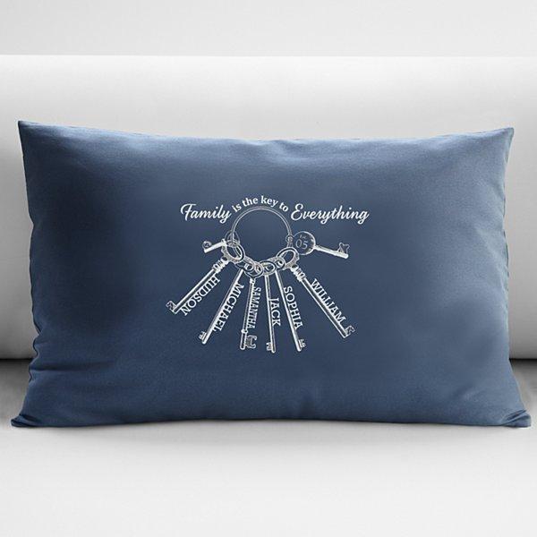 The Key to Family Throw Pillow - Blue 12x18