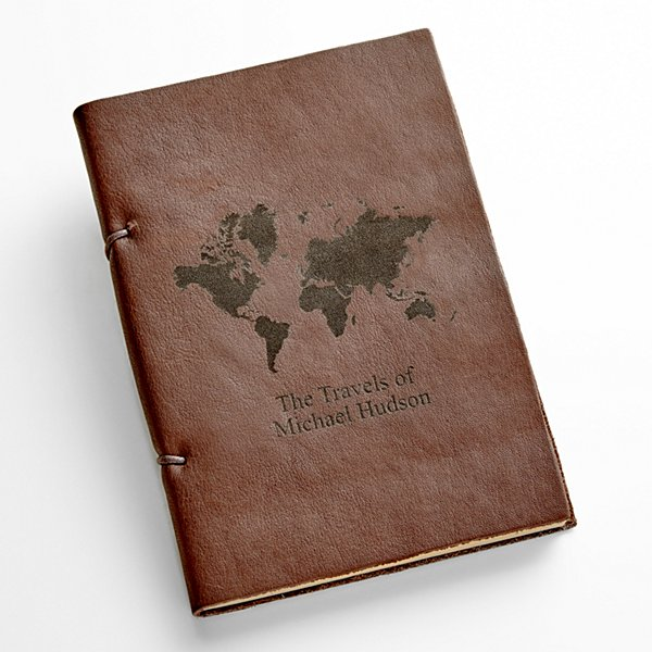 Leather Engraved Journal - World