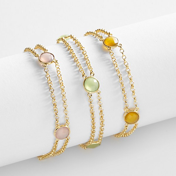 Double Chain Birthstone Bracelet