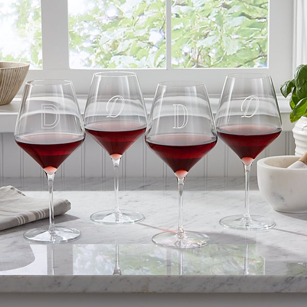 Red Stemware Wine Glasses