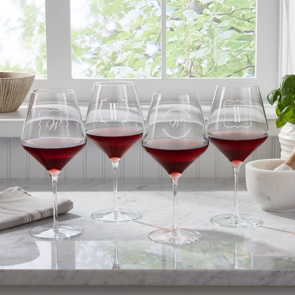 Bordered Monogram Red Stemware Wine Glasses