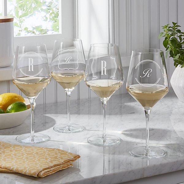 Bordered Monogram White Stemware Wine Glasses