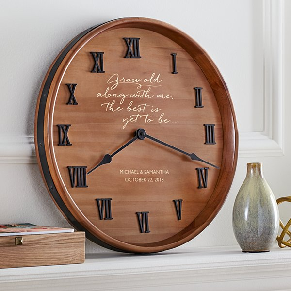 Grow Old with Me Wine Barrel Clock