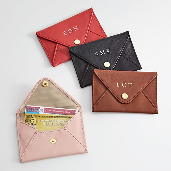Leather Mini Envelope Card Case