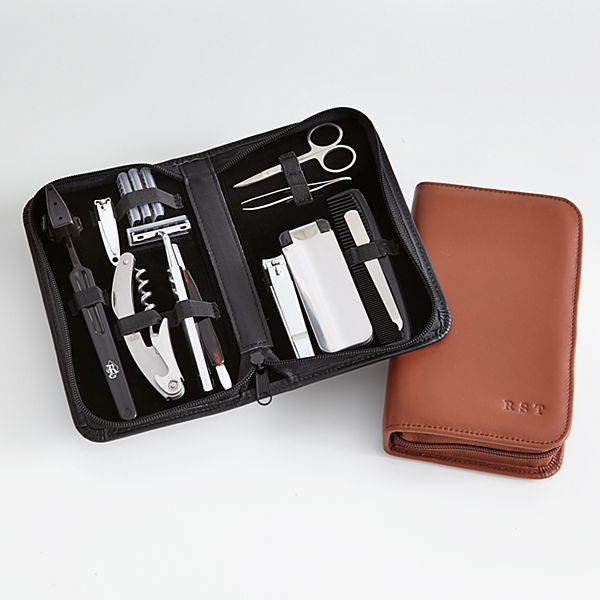 Leather Travel & Grooming Set