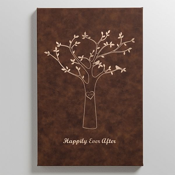 Tree Initials Leather Wall Art