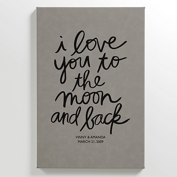 Love You to the Moon and Back Leather Wall Art