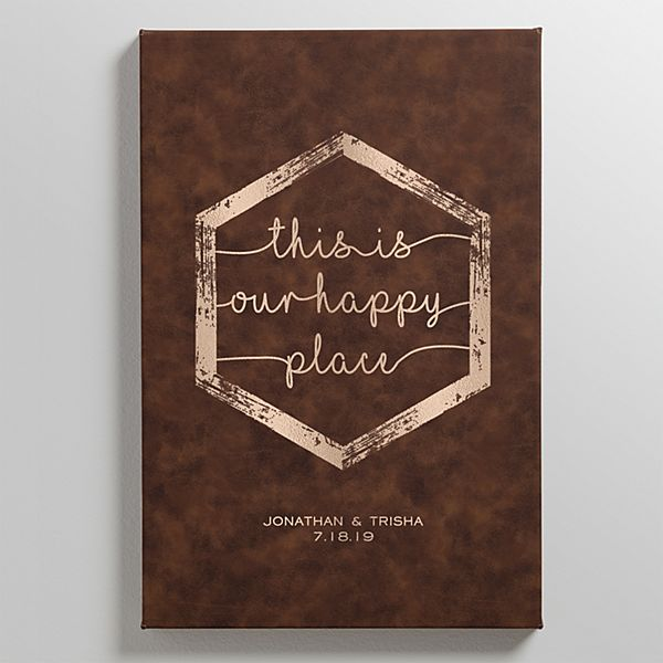 Our Happy Place Leather Wall Art