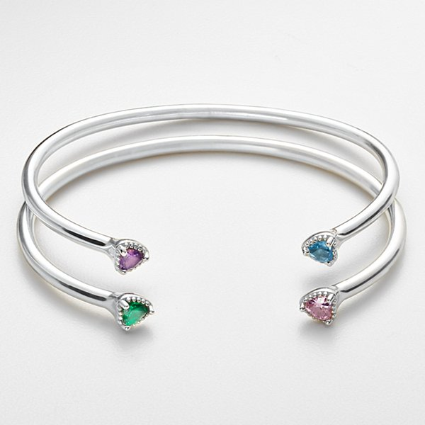 Open Heart Birthstone Cuff
