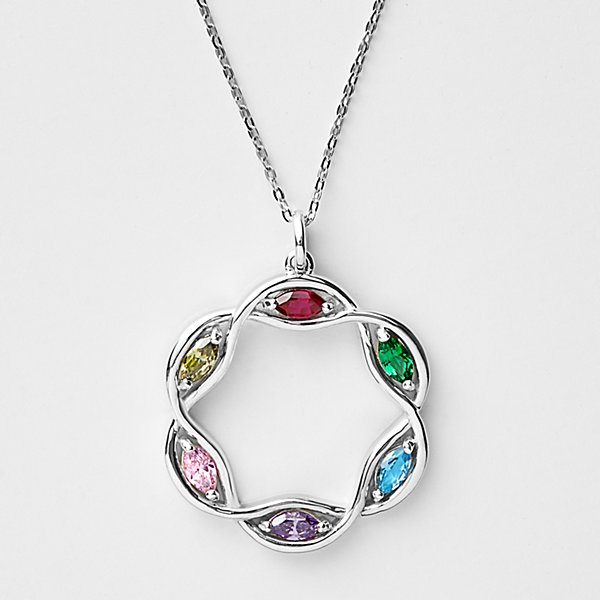 Our Family Wreath Birthstone Pendant