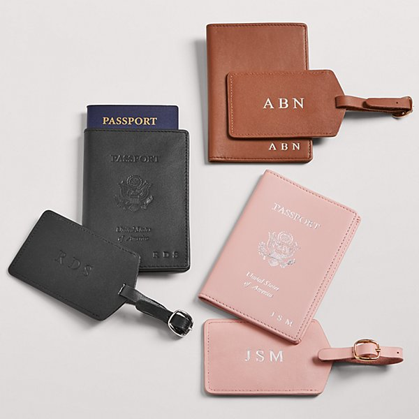 Leather Passport + Luggage Tag Gift Set