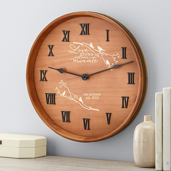 Our Love Grows Wine Barrel Clock