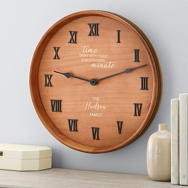 Time Spent with Family Wine Barrel Clock