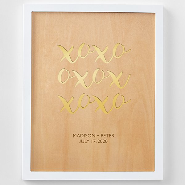 XOXO Engraved Wood Framed Art