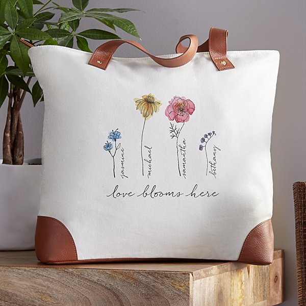 Family of Flowers Canvas Tote