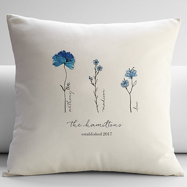 Family of Flowers Throw Pillow