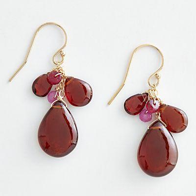 Mabel Chong Garnet Ruby Cluster Earrings