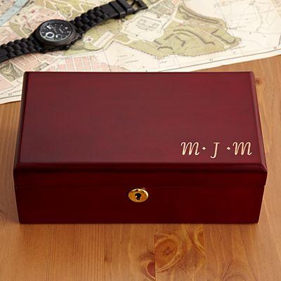 Engraved Wooden Valet Keepsake Box
