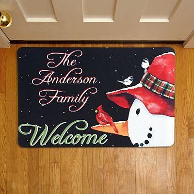 Snowman and Cardinal Doormat
