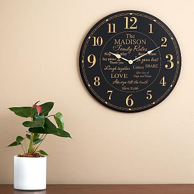 Family Rules Wall Clock