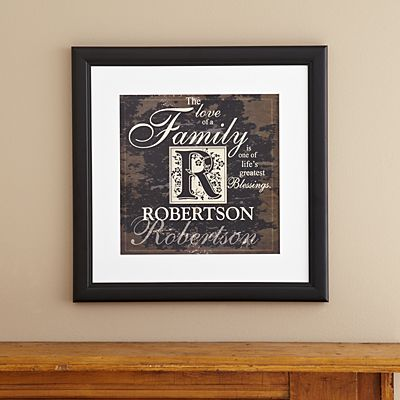 Family Initial Square Framed Print
