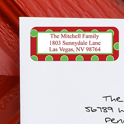 Christmas Dots Address Labels - Set of 150