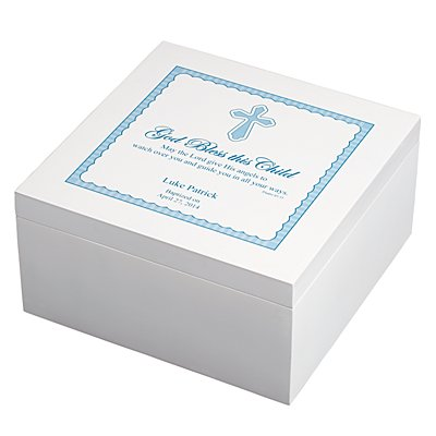 God Bless This Child Wood Keepsake Box - Blue