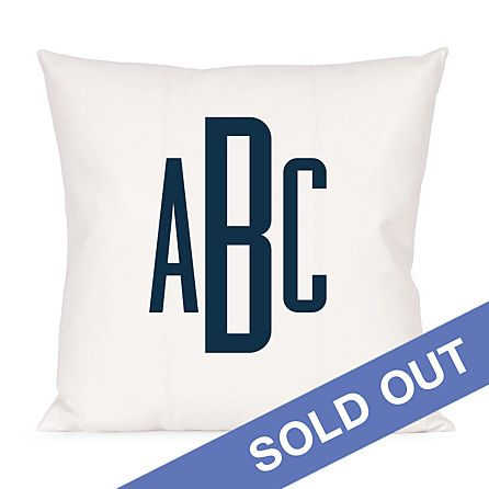 Raised Monogram Pillow Navy Personal Creations
