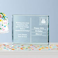 Birthday Postcard Glass Block