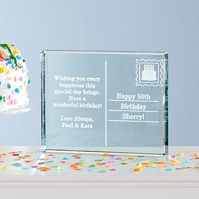 Birthday Postcard Glass Block