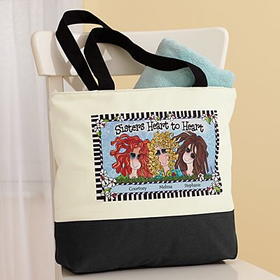 Sisters Heart to Heart Tote Bag by Suzy Toronto