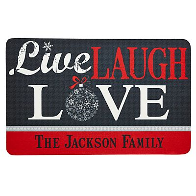 Live, Laugh, Love Holiday Doormat-17x27