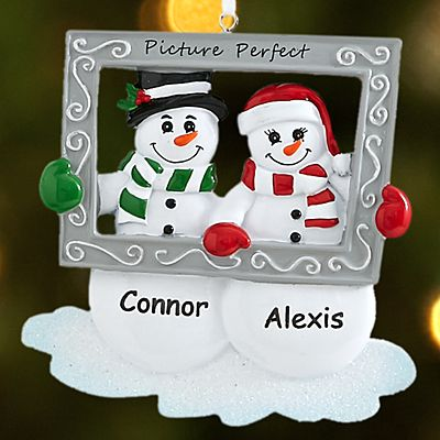 Picture Perfect Snowman Couple Ornament