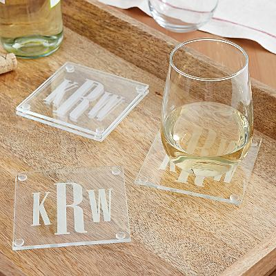 Timeless Monogram Glass Coaster Set