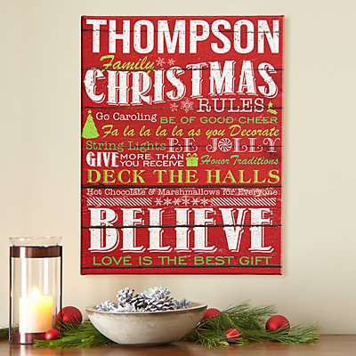 Family Christmas Rules Canvas