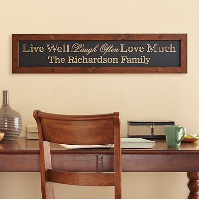 Live Laugh Love Family Framed Wood Sign