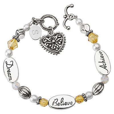 Dream, Believe, Achieve Sentiment Bracelet