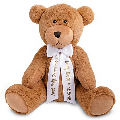 "27"" Plush Teddy Bear - White Ribbon"