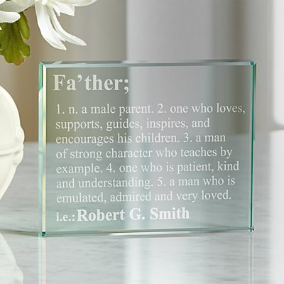 Father Definition Glass Keepsake Block