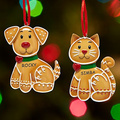 Gingerbread Dog and Cat Ornament