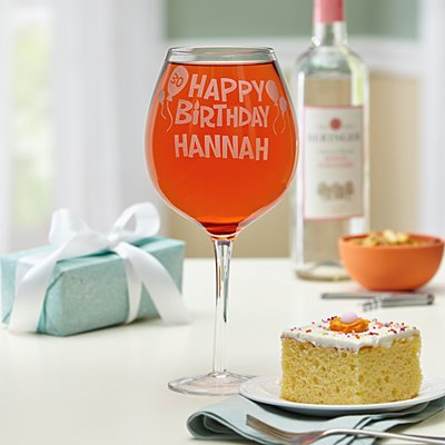 Happy Birthday Colossal Wine Glass