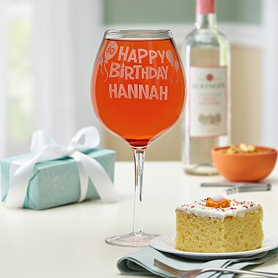 Happy Birthday Colossal Wine Glass