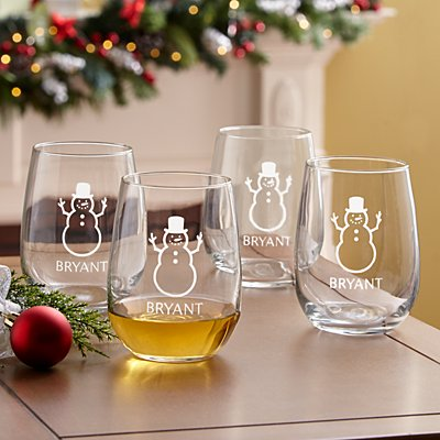 Holiday Cheers! Stemless Wine Glass Set