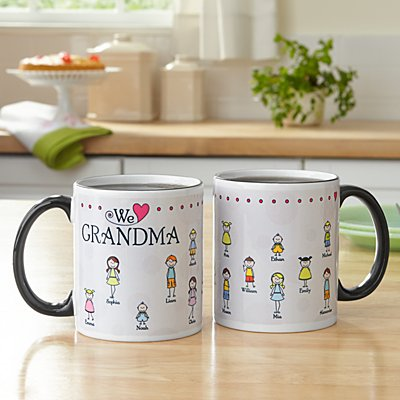 Tender Hearts Black Handle Mug