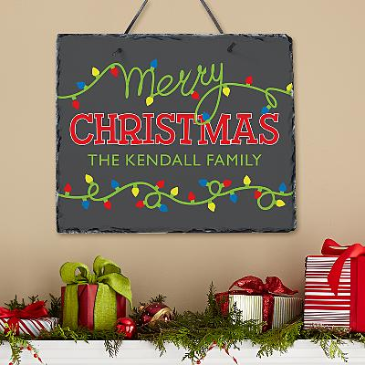 String of Lights Holiday Slate